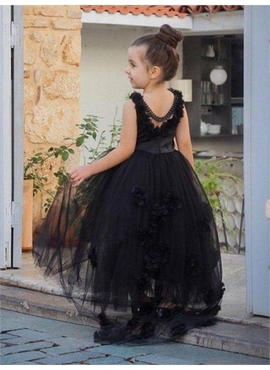 Riccotarz Kız Çocuk Gül Detaylı Abiye Siyah